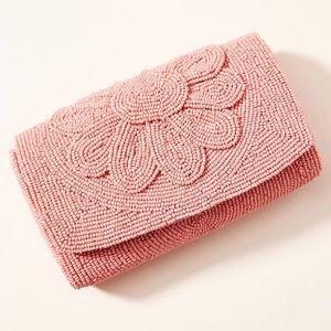 NWD Anthropologie Farin Pink Beaded Clutch